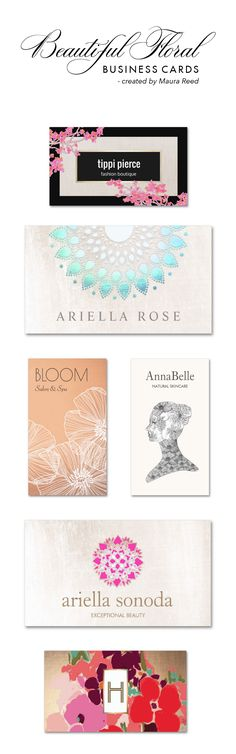 Elegant Floral business card designs perfect for florists, makeup artists, yoga instructors, fashion boutiques, hair stylists, estheticians, nail salon and spas and more. This is just a small sampling my many flower illustrations designs and illustrations. http://www.zazzle.com/sm_business_cards*
