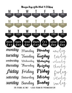 FREE Days of the Week Page 4 & Extras Free Printable on myplannerenvy.com