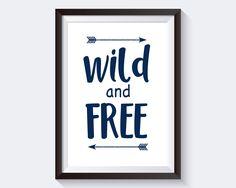 Wild And Free, navy blue quote, baby boy room decor, kids room decor, Modern Minimalist Art, scandinavian, Wall Decor, Most Popular #giftidea #birthdaygiftideas #housewarminggift