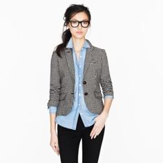 Business casual work outfit: houndstooth blazer, chambray button up, black skinnies. I'd wear with black oxfords or heels.