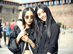 "modelsjam: "" Ming Xi and Xian Wen Ju, Milano, September 2012 "" Ming Xi, Sean O'pry, Girls Run The World, Models Off Duty, Candid, Fashion Models, Milan, Street Style, People"