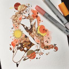 "15.9k Likes, 56 Comments - @sibylline_m on Instagram: ""Witch sketch in my @mosseryco sketchbook !  To answer your questions, the paper is 224g (mixed…"""