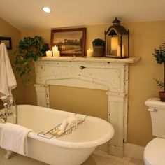 Cute use of mantle next to old claw foot tub.