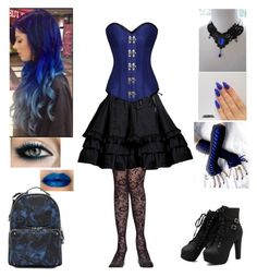 """""""Black and Blue"""" by shadow-cheshire ❤ liked on Polyvore featuring Valentino"""