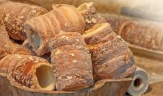 Trdlo or trdelnik - traditional national Czech sweet pastry dough, cooked on an open fire.Places to find:Prague,Budapest Slovak Recipes, Czech Recipes, New Recipes, Cookie Recipes, Dessert Recipes, Eastern European Recipes, Sweet Dough, Sweet Pastries, Food Design