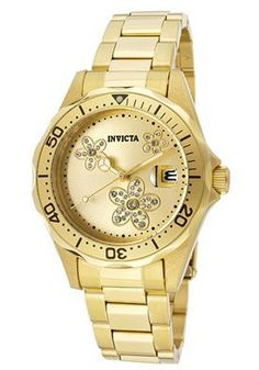 Invicta Women's 12508 Pro Diver Gold Tone Dial 18k Gold Ion-Plated Stainless Steel Watch