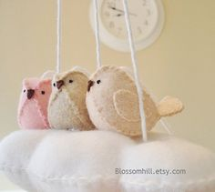 Baby nursery mobile - Cloud and Birds in blush pink, oatmeal and light peach on Etsy, $40.00