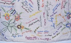 Table Cloth As Guest Book.  Have guest sign, then embroider over the signature.  What a great keepsake!!
