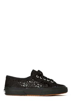 black sneakers from Superaga! They have a lace shell with a wide rubber sole and a lace-up closure. Crazy Shoes, Me Too Shoes, High Heels, Shoes Heels, Flats, Superga Shoes, My Collection, Buy Shoes, Sock Shoes
