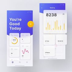 Mellow UI Kit Fitness by Roland Lehle Flat Web Design, App Ui Design, Dashboard Design, Interface Design, User Interface, Ui Kit, Dashboard App, Ui Design Mobile, Mobile Ui Patterns