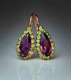 Antique Russian almandine and demantoid garnet earrings for sale