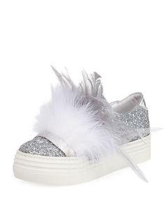 e5cf6c41ea4 Kate Feather-Embellished Glitter Sneaker
