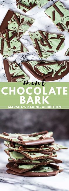 Mint Chocolate Bark - A deliciously minty white chocolate layer swirled into a thick layer of melted dark chocolate. Perfect for an indulgent treat, or gift-giving! Recipe on marshasbakingaddiction.com