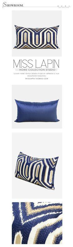 MISS LAPIN澜品家居/新古典/样板房家居软装设计师靠包抱枕/蓝色古典几何图案绣花腰枕/布艺pillow /cushion /cushion cover-淘宝网