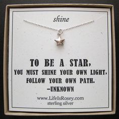 Star Necklace Sterling Silver Star Charm Necklace by LifeIsRosey, $28.00