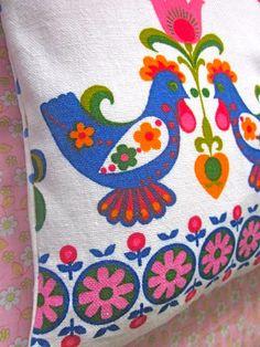 Rare 1970s Dekoplus  Fabric #Cushion Cover  #Folk  by Pommedejour, $ 30.00
