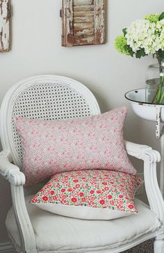 "Beautiful Liberty of London fabric cushion with creamy-white linen on reverse side. This pattern is called ""Katie and Millie-Pink"" and is a lovely dainty floral pattern in pink, aqua,"