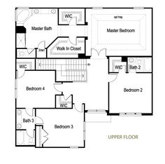 2 Story Upper Floor Plan by Meritus Homes, via Flickr.  Huge master suite, 2 WICs, 4 bedrooms upstairs.  Room for deck?
