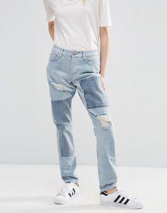 Image 1 ofASOS Brady Low Rise Patchwork Boyfriend Jeans in Light Wash Blue