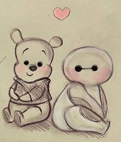 Pooh and baymax drawing. Simple drawing, easy drawing Pooh and baymax drawing. Girly Drawings, Cute Animal Drawings, Kawaii Drawings, Disney Drawings, Cartoon Drawings, Easy Drawings, Bmax Disney, Baymax Drawing, Disney Doodles