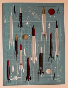 EL GATO GOMEZ PAINTING RETRO MID CENTURY MODERN ATOMIC SCI-FI ROCKET SHIP 1950S in Paintings | eBay Mid Century Art, Mid Century Style, Mid Century Modern Design, Retro Rocket, Vintage Space, Googie, Retro Art, Sci Fi Art, Graphic Illustration