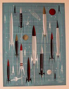 EL GATO GOMEZ PAINTING RETRO MID CENTURY MODERN ATOMIC SCI-FI ROCKET SHIP 1950S in Paintings | eBay