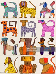 'Untitled, by Mario De Biasi, from the ''Dogs'' series, 20th Century, drawing Private collection. Whole artwork view. Twelve multicoloured dogs, all of them different from each other, form a vivid and fanciful amalgam; one of them is similar to a poodle, another one to a jaguar, another one is composed of multicoloured geometrical figures. (Photo by Mario De Biasi/Mondadori Portfolio via Getty Images)'