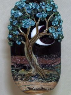 WSTGA~LILACS AT MIDNIGHT~FLORAL MOON TREE handmade lampwork focal glass bead SRA  By Molly Cooley