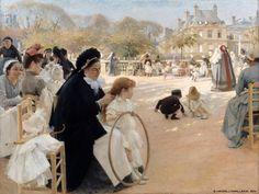 Albert Edelfelt (Finlande, 1854-1905) – Pariisin Luxembourgin puistossa (1887) Suomen Kansallisgalleria