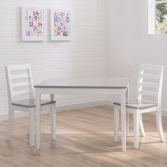 Delta Children 3-piece Grey and White Table and Chairs Set (White & Grey), Multi