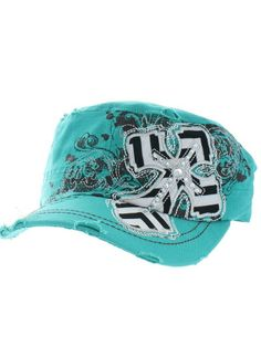 f0cb090d771 Chevron Cross Hat Cute Designer Fashion Bling Turquoise Black White Cadet  Cap Embroidered Silver Rhinestone