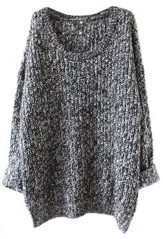 SheIn Women's Grey Batwing Sleeve Oversized Pullover Knitted Sweater
