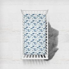 Fitted Crib Sheet Nautical Fish Shark. Whale Crib Sheet.