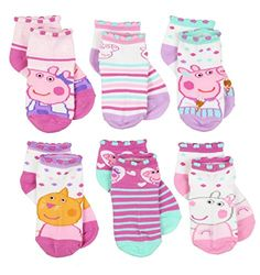 These adorable socks are sure to bring a smile to your little one's face! This set features graphics of the her favorite Peppa Pig characters: Peppa Pig, Suzy Sheep, Rebecca Rabbit, Candy Cat, and Zoey Zebra! Best Baby Socks, Baby Girl Socks, Girls Socks, Peppa Pig, Rebecca Rabbit, Pig Girl, Pig Character, 6 Pack, Pink Socks