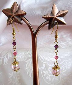 Orecchini con perla rosa e cristalli rosa e viola di Piccoli Capricci di Mara su DaWanda.com