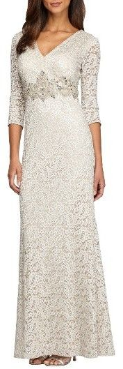 Women's Alex Evenings Embellished Lace Column Gown