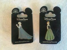 Disney FROZEN Anna Elsa Glitter Dress Pin Set - Disneyland Elsa Olaf, Elsa Anna, Anna Frozen, Disney Frozen, Limited Edition Disney Pins, Disney Pins Sets, Glitter Dress, My Ebay, Disneyland