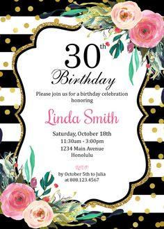 30th Birthday Invitation for Women. Black by StrawberryPartyPrint