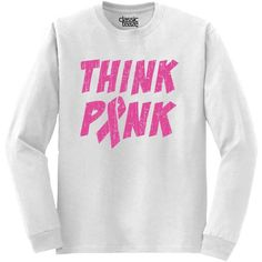 Breast Cancer Shirt Pink Ribbon Shirt Awareness Shirt Think Pink... ($14) ❤ liked on Polyvore featuring tops, t-shirts, black, women's clothing, pink t shirt, white t shirt, pink ribbon shirts, print t shirts and v neck tee