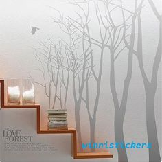 Vinyl Wall Decal Nature Design Tree Wall Decals Wall stickers Nursery wall decal wall art------love forest