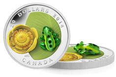 Fine Silver Coin - Water-lily and Venetian Glass Leopard Frog Mint Coins, Silver Coins, Numismatic Coins, Canadian Coins, Banknote, Venetian Glass, Coin Collecting, Innovation, Lily