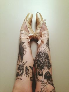 Ballerina tattoo, shoes, vintage, black and grey, design, calf, ink