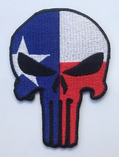 Punisher Skull with Texas Flag Patch American Tactical Embroidered Iron on / Sew on Logo Badge Crest Emblem