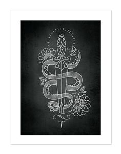 Snake & Dagger – Tattoobular Line Design Series, Neo-Traditional Tattoo Flash, Old School, Art Print 12x16
