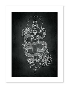 Snake & Dagger Tattoobular Line Design Series by BlackMast