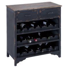 Distressed Black Wine Rack