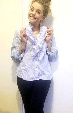 White and blue striped ruffle front shirt with contrasting sleeves Batwing Top, New Fashion, Fashion Ideas, Piece Of Clothing, Blue Stripes, Night Out, Contrast, Ruffle Blouse, Skinny Jeans