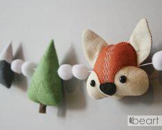 Woodland nursery fox garland felt forest decoration | Etsy Woodland Baby, Woodland Nursery, Felt Keychain, Forest Decor, Party Garland, Felt Decorations, Girl Gifts, Hand Sewing, Fox