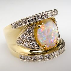 Crystal+Opal+&+Diamond+Wide+Band+Cocktail+Ring+18K+Gold