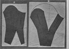 Fig. 73.   One piece sleeves designed from two seam sleeve pattern; A, close fitting sleeve with dart from elbow to wrist; also bishop sleeve; B, leg o' mutton sleeve.